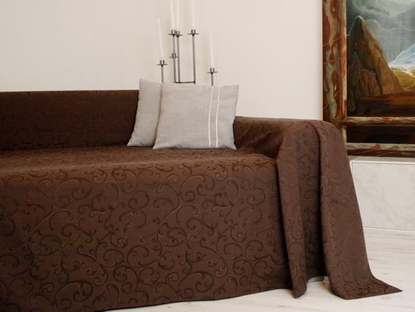 tagesdecke plaid berwurf sofa berwurf 210x280cm braun ebay. Black Bedroom Furniture Sets. Home Design Ideas