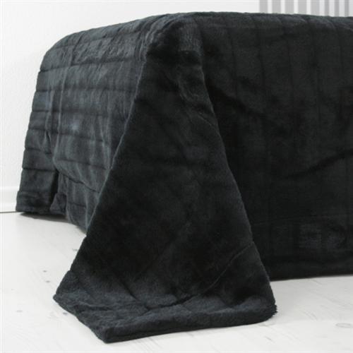 nerzdecke fellplaid plaid schwarz tagesdecke 200x150cm ebay. Black Bedroom Furniture Sets. Home Design Ideas