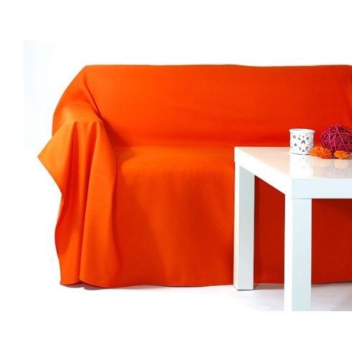 tagesdecke plaid decke sofa bett sessel berwurf sofa berwurf 140x210cm orange ebay. Black Bedroom Furniture Sets. Home Design Ideas