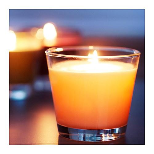 ikea duftkerze sinnlig kerze im glas vanillearoma 25 std brenndauer weiss neu ebay. Black Bedroom Furniture Sets. Home Design Ideas